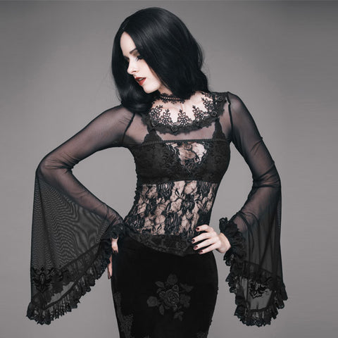 Queen Sheer Bell Sleeve Top by Eva Lady