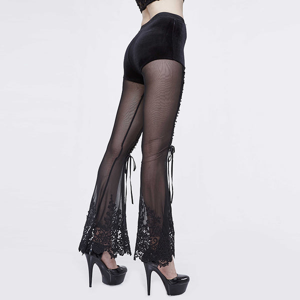 Cursed Lace Up Sheer Flared Pants by Devil Fashion