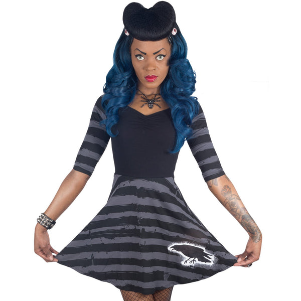 Nevermore Striped Skater Dress by Kreepsville 666