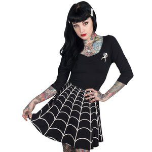 Spiderweb White Skater Dress by Kreepsville 666