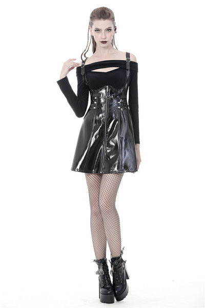 Twisted PU Leather Underbust Dress by Dark In Love