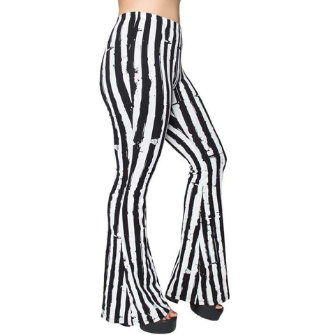 Distressed Stripe White Flare Leggings by Kreepsville 666
