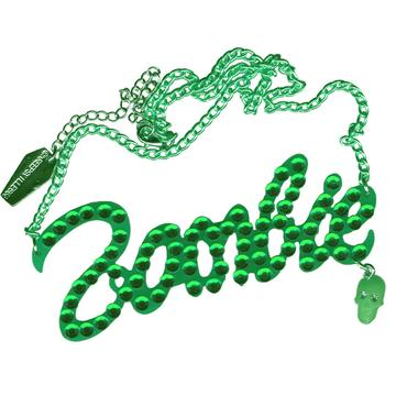 Green Diamonte Zombie Necklace by Kreepsville 666