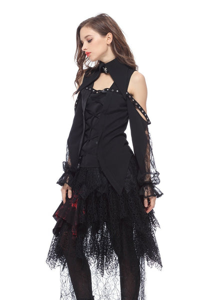 Spiderweb Net Tier Skirt by Dark In Love