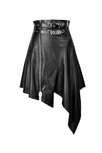 Grim PU Leather Irregular Skirt by Dark In Love