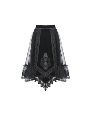 Cemetery Lane Velvet Skirt by Dark In Love