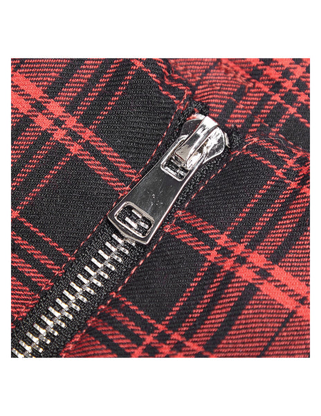 Red Glamour Punk Plaid Skirt by Punk Rave