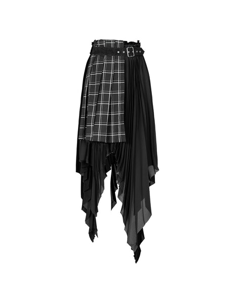 Asymmetric Punk Plaid Skirt by Punk Rave