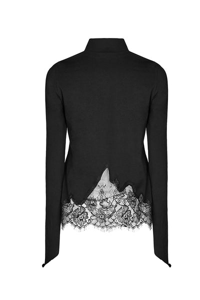 Lace Cut Long Sleeve Shirt by Punk Rave