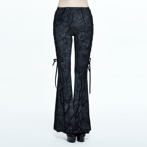 Wild Branches Flared Pants by Devil Fashion