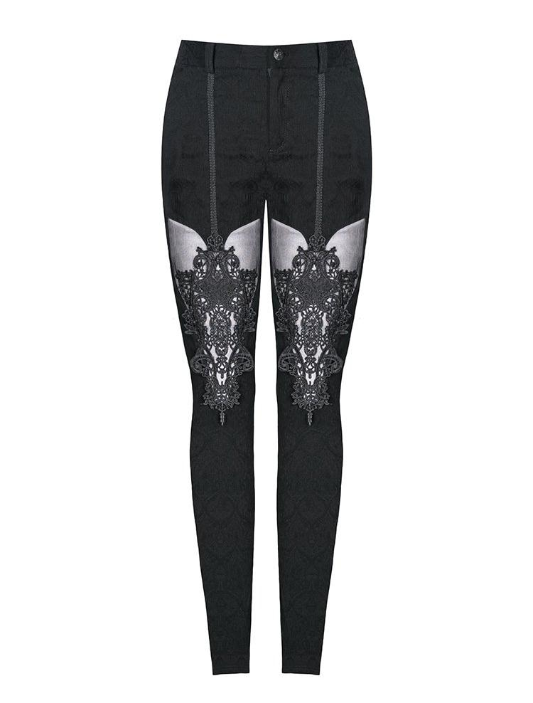 Gothic Floral Mesh Pants by Dark In Love