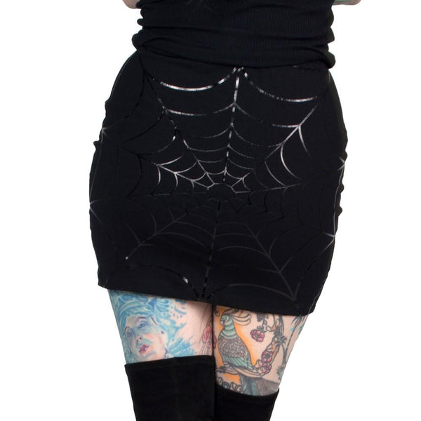 Web Mini Skirt Black Foil by Kreepsville 666