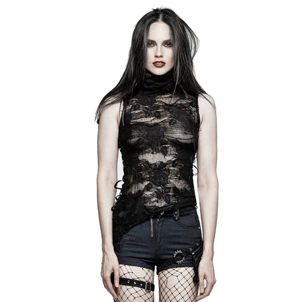 Distressed Rose Top by Punk Rave