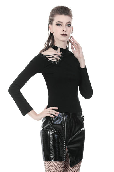 Punk Tie Up Shoulder Top by Dark In Love