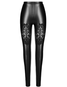 Punk Rave Gothic Lace PU Leather Leggings