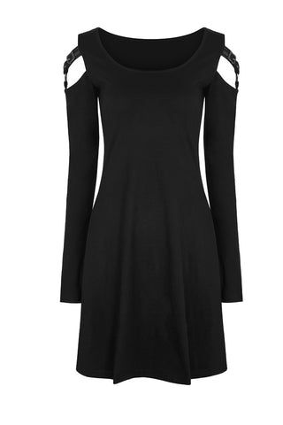 Punk Rave Cold Shoulder Buckle Dress