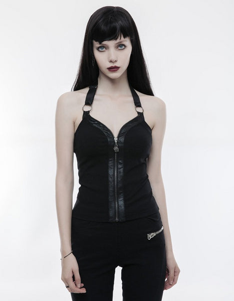 Skully Halter Vest Top by Punk Rave