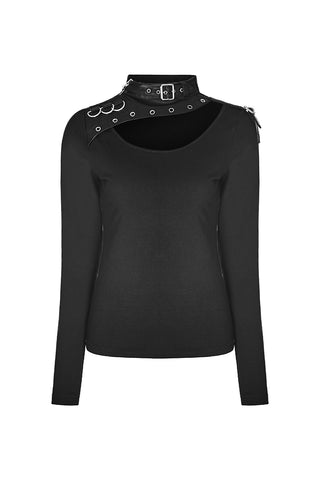 Punk Rave Buckle Collar Top