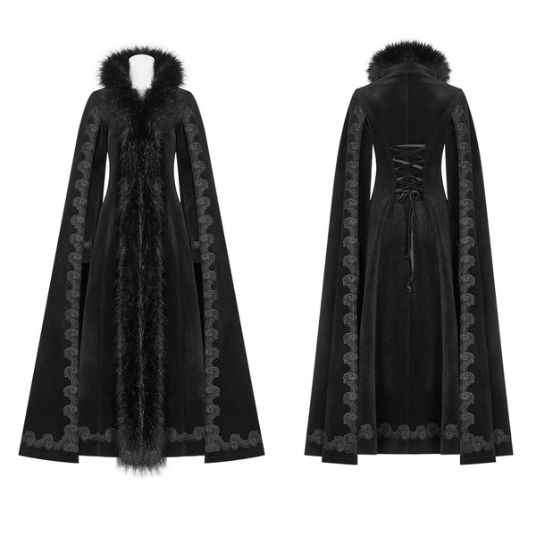Dark Snow Bunny Faux Fur Trimmed Coat by Punk Rave