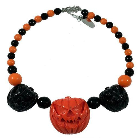 Jack O Lantern Black/Orange Pumpkin Necklace by Kreepsville 666