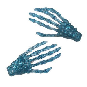 Blue Glitter Skeleton Bone Hand Hair Clips by Kreepsville 666