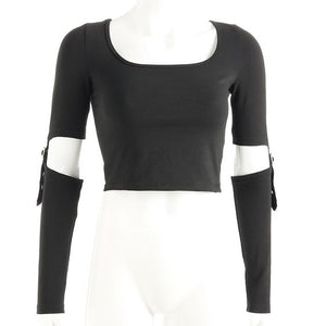 Buckle Sleeves Crop Top