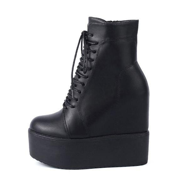 Black Storm Wedge Boots