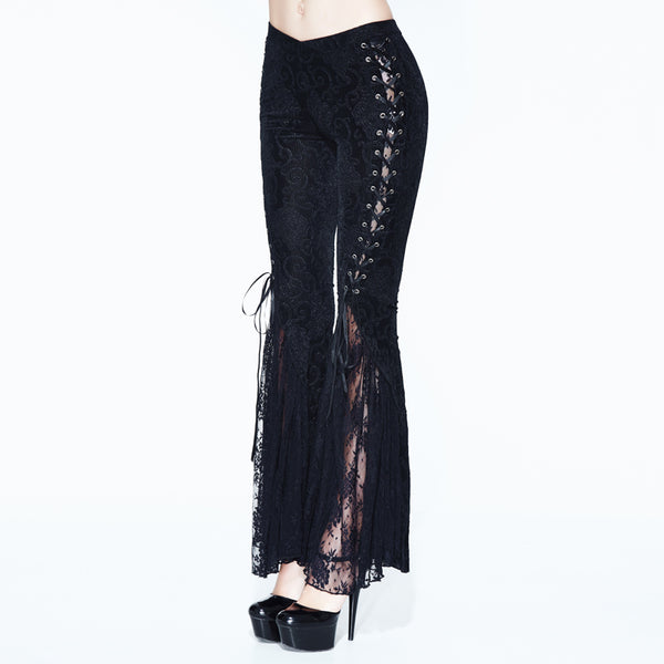 Charmed Lace Up Flared Pants by Devil Fashion