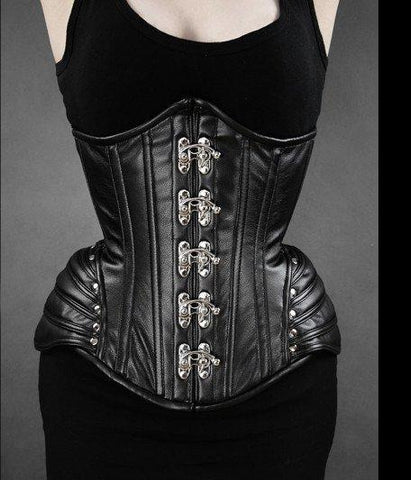 Black Armor Faux Leather Underbust Corset By Restyle
