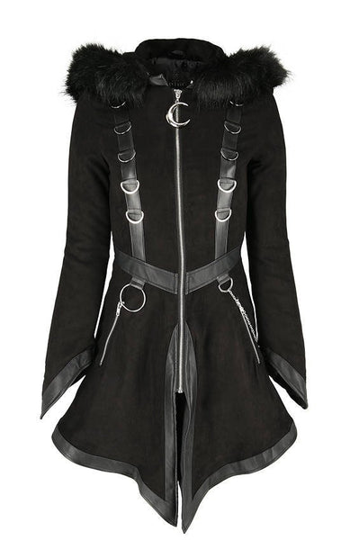 Gothic Faux Fur Hood Coat by Restyle