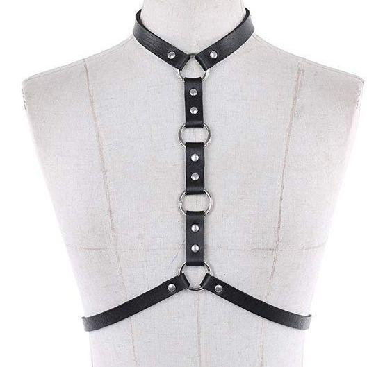 Faux Leather Choker Harness