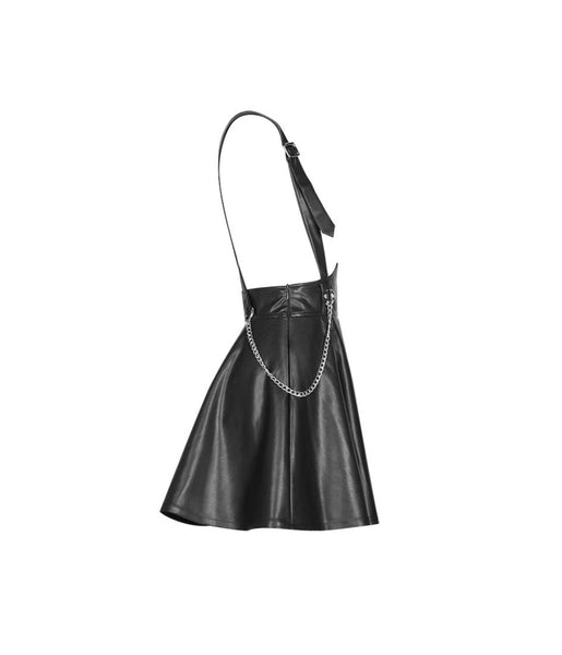 Bad Ghoul Faux Leather Overall Skirt by Punk Rave