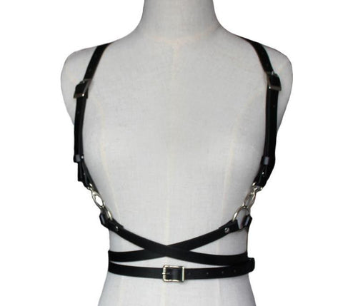 Faux Leather Harness Suspender Belt