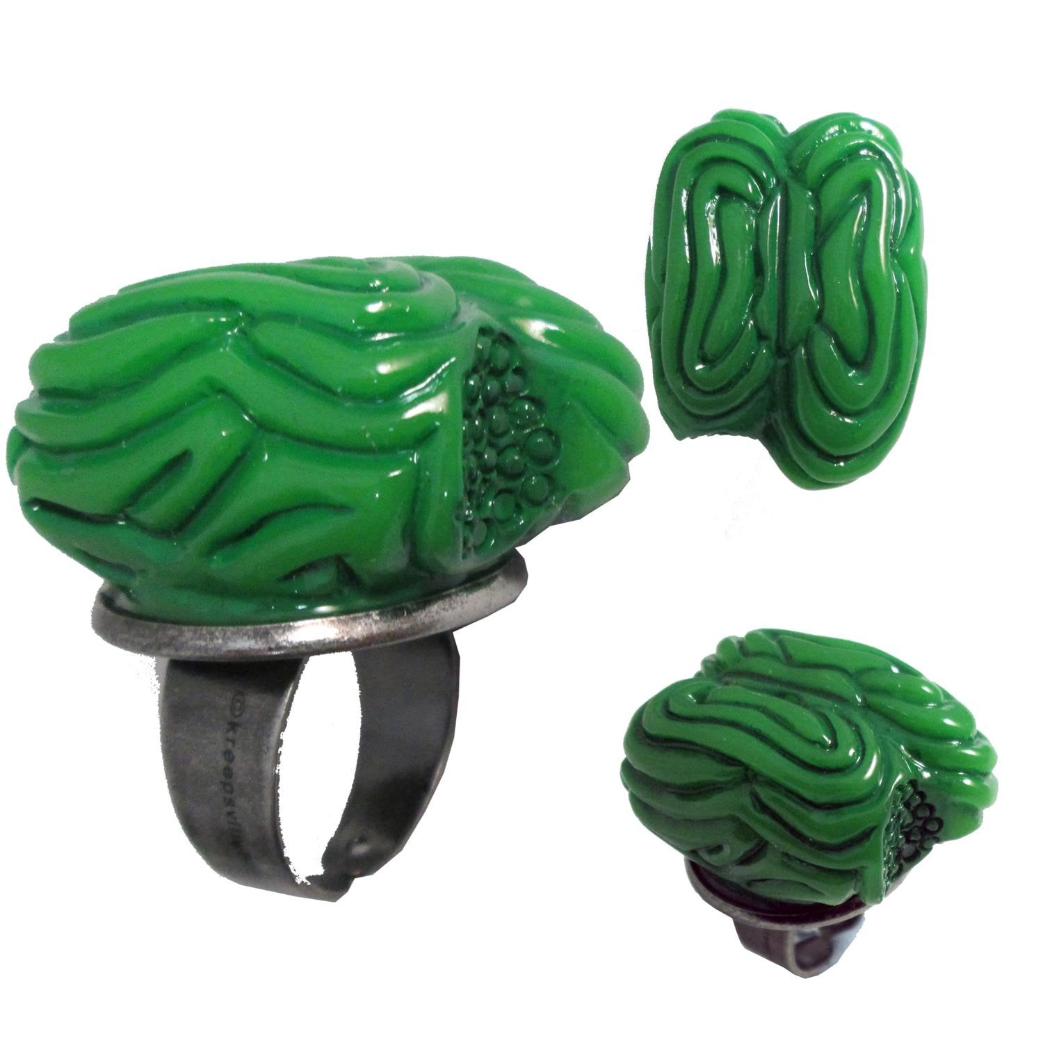 Green Zombie Brain Ring by Kreepsville 666