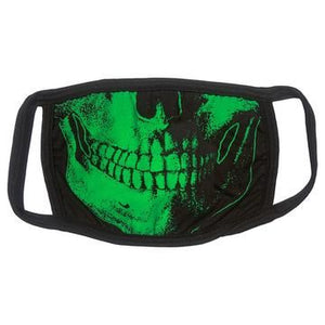 Skull Death Green Face Mask by Kreepsville 666