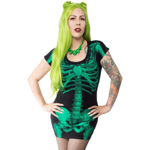 Green Glow Skeleton Tunic Dress by Kreepsville 666