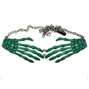 Skeleton Bone Hand Green Necklace by Kreepsville 666