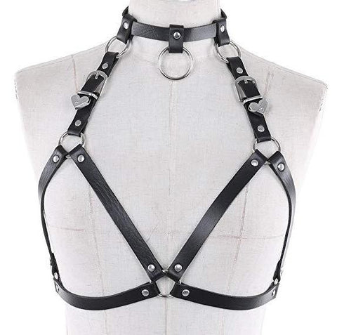 No Love Faux Leather Choker Harness