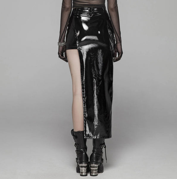 Glossy Black Skirt by Punk Rave