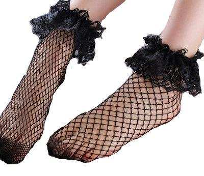 Lace Ruffle Fishnet Socks