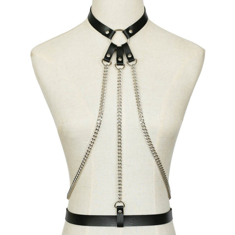 Triple Chain Faux Leather Harness
