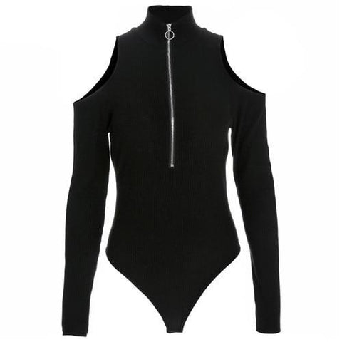 Open Shoulder Zip Up Bodysuit Top
