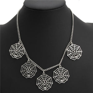 Silver Spider Web Necklace