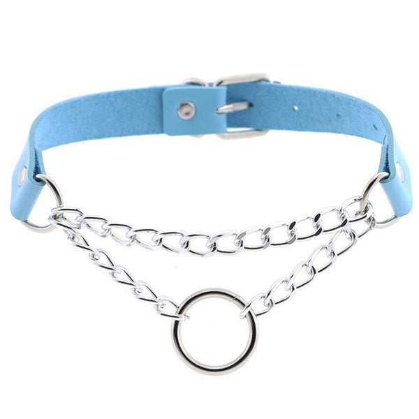 O-Ring Chain & Faux Leather Choker