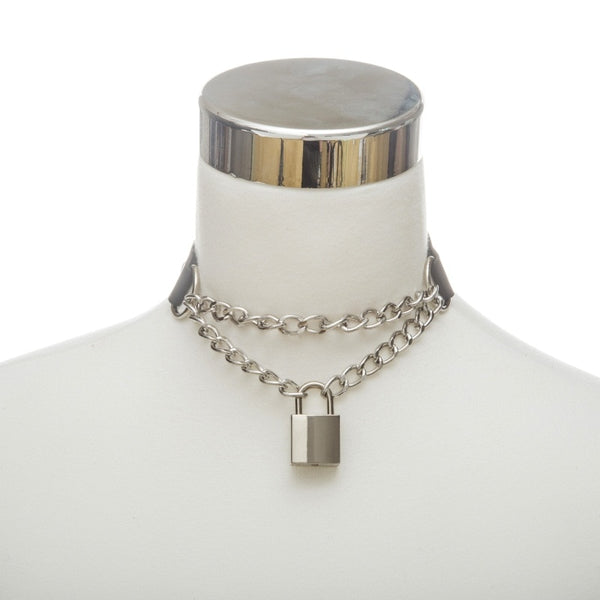 Padlock Chain & Faux Leather Choker