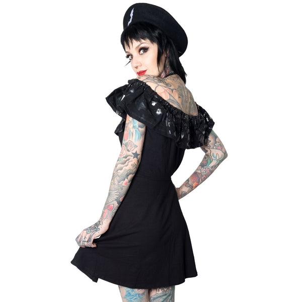 Ruffle Bat Black Dress by Kreepsville 666