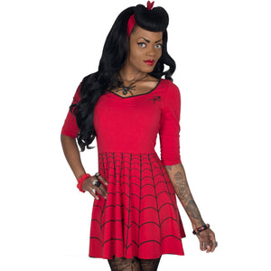 Spiderweb Red Skater Dress by Kreepsville 666