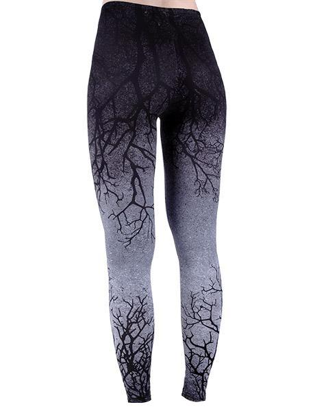 Gray Branches Gothic Leggings by Restyle