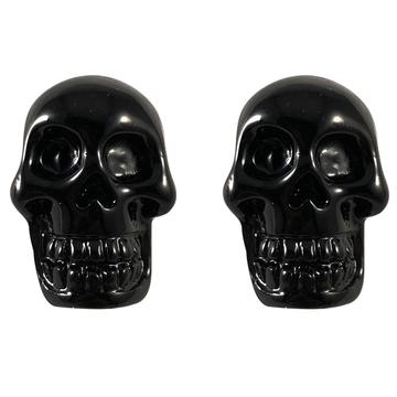 Skull Stud Black Earrings by Kreepsville 666