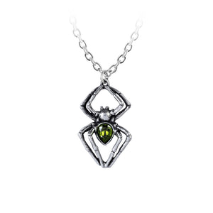 Emerald Spiderling Pendant Necklace by Alchemy Gothic